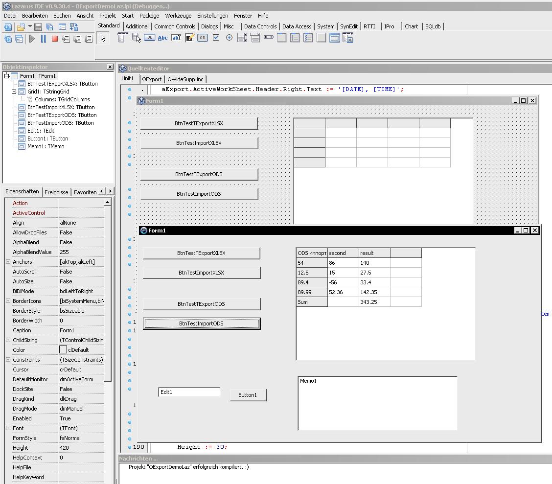 XLSX/XLS/ODS/CSV Delphi & Lazarus - export/import to Excel
